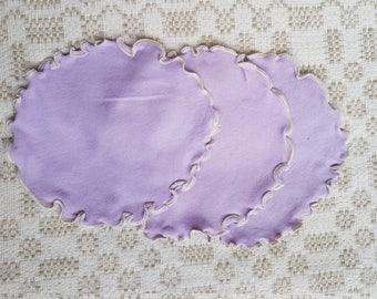 Vintage set of three little violet tricot serviettes / table-napkins / doilies , home decoration