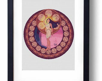 Pocahontas Stained Glass Disney (Cross stitch embroidery pattern pdf)