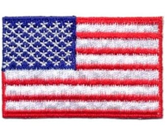 Embroidered Iron-On USA Flag, 2+1/4 x 1+15/16 inch