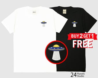 The UFO#101-01 Embroidered T-Shirt by 24PlanetsStudio
