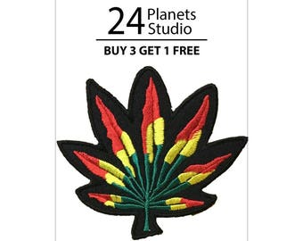 Color Cannabis Iron on Patch by 24PlanetsStudio