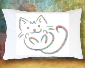 KITTY CAT Pillowcase Word Cloud Gift Decoration Room Decor Bedding Red \u0026 Purple Microfiber Soft Pillowcase & Cat pillowcase | Etsy pillowsntoast.com