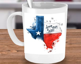 Texas Mug Gift! Texas Strong Native Texan Lone Star State Pride Watercolor Stylish Photo on 15 oz White Ceramic Coffee Mug!
