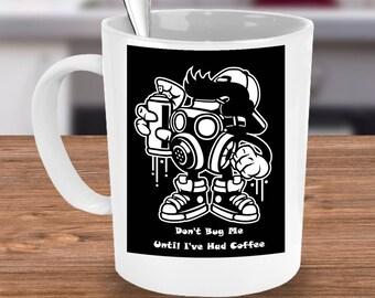 PEST CONTROL Mug Funny Coffee Lover Bug Killer Exterminator Gift Don't Bug Me Before Coffee 15 oz White Ceramic Coffee Cup / Tea Cup / Mug!