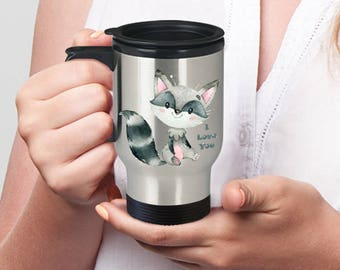 I LOVE YOU Raccoon Insulated Stainless Steel Travel Coffee Mug With Lid Sweet Watercolor Raccoon An Adorable Way to Say You Care