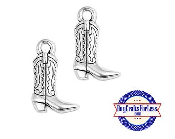 COWBOY BOOT Charms, 4 pcs-Great for Bracelets, Earrings or Pendants +FREE SHiPPiNG +Discounts*