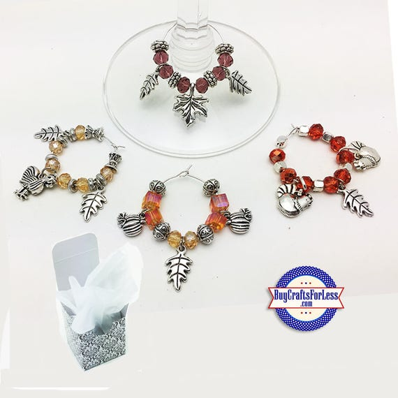 FALL / Thanksgiving WiNE or Bottle CHARMs, Napkin Rings, Glass/Silver Beads, Set of 4, FREE Gift BoX!!  +FREE SHiPPiNG & Discounts*