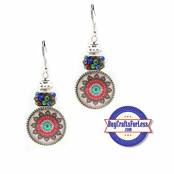 CHRISTMAS EARRiNGS, Glass Cabochon, Sparkle Beads, FREE Gift BoX!!  +FREE SHiPPiNG & Discounts*