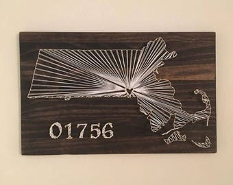 State Wall Art String Art with Zip Code or Last name