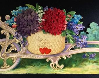 "Very Large Floral Valentine,  Pon Pon ""Chrysanthemums""  violet pastells and gilding #3DV1031"