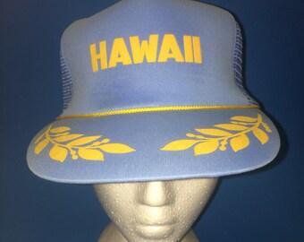 Vintage Hawaii Trucker SnapBack Hat Light Blue 1980s Sunny