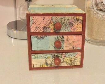 Sale | Hand painted Vintage Decoupage Wooden Jewelry box with drawers- Trinket box- mini chest of drawers- housewarming gifts- cufflink box