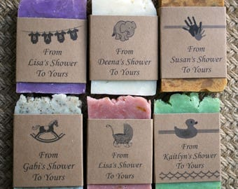 Baby Shower soap favors natural rustic personalized party favors guest soap travel soap mini soap sample