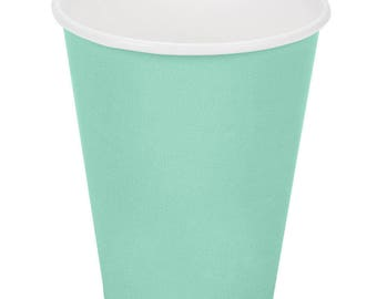 50 Mint Green Poly Paper Cups 9oz Hot/Cold, Party Supplies, Wedding Supplies, Party, Wedding, Paper Cups, Beverage Cups, Cups, Supplies