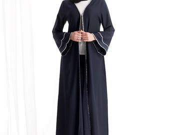 latest Dubai open front abaya navy blue