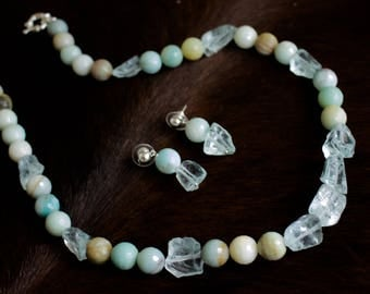 12 mm Round Faceted Amazonite with Blue Quartz Necklace with Matching Earrings.