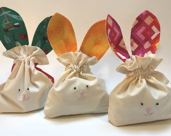 "Small Easter Bunny Treat Bag - 6' wide x 9"" tall - Adorable Super Cute Bag perfect for Jelly Bean Candy or Easter Egg Sweets"