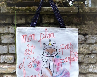 Cotton tote bag Fox, Unicorn