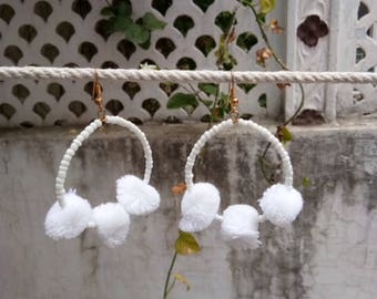 Jewellery, Earrings, Hoop Earrings, Pom Pom Earrings, Handmade Earrings, Pom Pom Hoop Earrings, Beads Earrings, PomPom Earrings