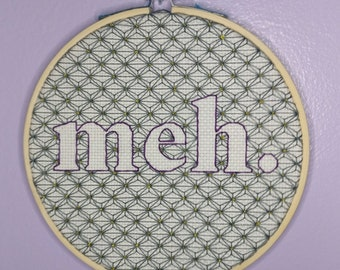 Pattern: Meh Blackwork / black work cross stitch embroidery