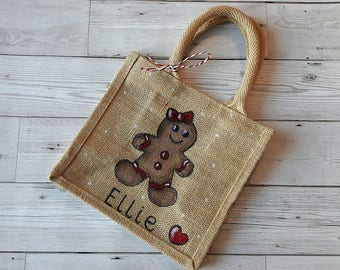 Gingerbread jute bag ( personalise with own name)