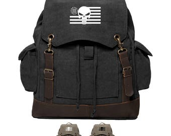 Three Percenter Punisher Military Vintage Canvas Rucksack Backpack with Leather Straps