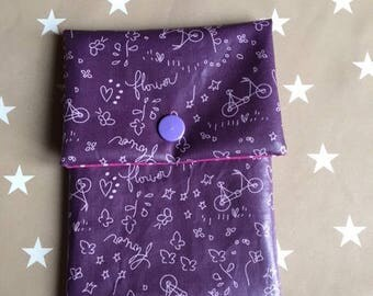 pouch tucks Passport purple theme bicycle, flowers