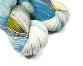 Hand Dyed Yarn 'Spring Awakening' - Sock Weight Variegated Speckled Yarn - 463yd/100g of 75/25 Merino/Nylon Superwash Gray, Blue, Green Yarn