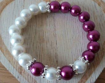 Girls Princess Bead Bracelet Purple and White