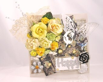 Beautiful Handmade Floral Greeting Card With Yellow Flowers and Butterfly, Embellished, Happy, Happy Birthday
