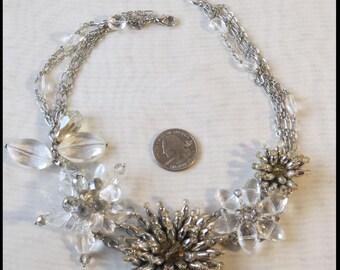 ViNTAGE RHINESTONE CRYSTAL BEADED Necklace Downton Abbey Necklace Silver Rhinestone Necklace by BrowseMyVintageShop