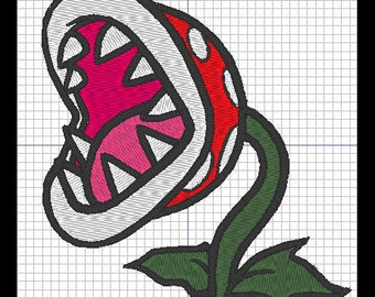 Embroidery design - plant Piranha from Mario Bros (carnivore)