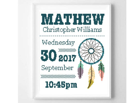 Birth Announcement Cross Stitch Pattern, Personalized, Custom, boy, nursery, boho, nautical, dreamcatcher, instant pdf, diy