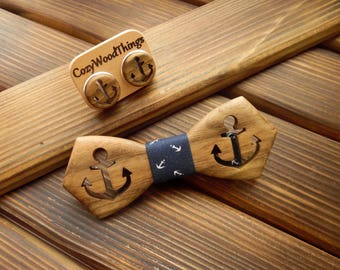 Wood bow tie Anchor bow tie Bow tie set Wood gift set Wood cufflinks Summer party Summer outdoors  Husband Boss gift Sea wedding Anchor tie
