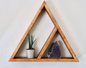 Triangle wall shelf, triangle shelf, bohemian shelf, boho shelf, wall decor, home decor, rustic wood shelf, rustic triangle shelf, shelf