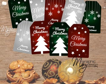 9 Christmas Tags Printable Holiday Gift, Merry Christmas, Christmas Tag, Green Red Silver