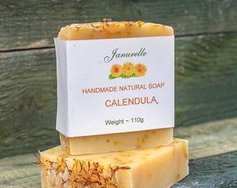 Natural calendula soap. Handmade with natural sweet orange blossom fragrance and organic calendula petals. SLS free, paraben free.