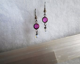 Pink Vintage Chain Connector Earrings With little Opalites