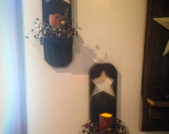 Star sconces set of 2 (berries and candles included!)