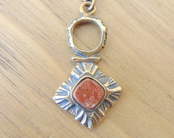 Pentti Sarpaneva for Turun Hopea vintage bronze and red jasper pendant necklace