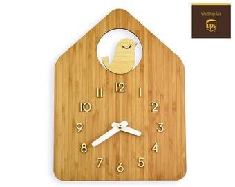 BIRD HOUSE - Bamboo Wall Clock