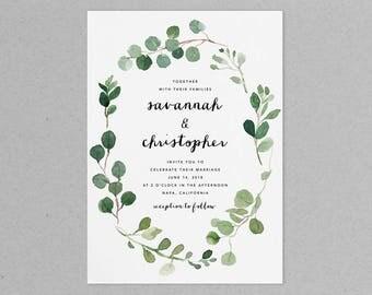 Eucalyptus Wedding Invitation Set, Greenery Wedding Invitation Set, Printable Wedding Invitation Suite