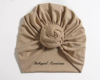 Knotted soft turban hat, Tan Turban hat, Baby and Adult Turban hat, newborn turban hat, girls turban hat, toddler turban