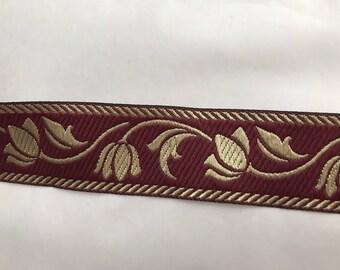 10 m medieval 3.5 cm wide Burgundy stripe