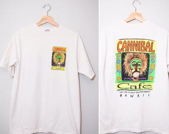 Vintage 1980's Cannibal Cafe Souvenir Hawaiian Shirt | Size Large
