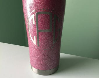 personalized pink glitter 20oz tumbler