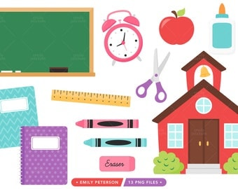 School Clipart, Schoolhouse Clipart, Back to School Clip Art, Apple Clipart - Commercial Use, Instant Download