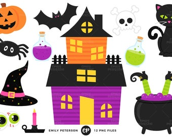 50% OFF SALE! Halloween Clip Art, Haunted House Clipart, Witch Clip Art - Commercial Use, Instant Download