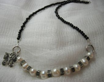 Black Butterfly Freshwater Pearl and Marcasite Necklace