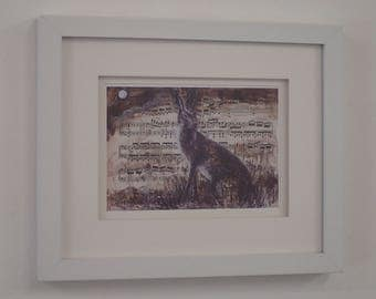 Seated Hare 2 framed print by Kyla Dante
